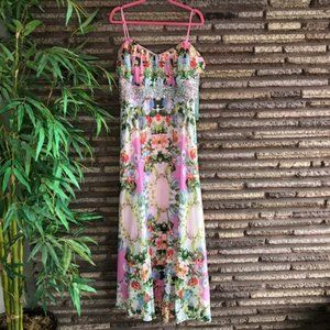 City Triangles Floral Strapless Beaded Maxi Dress